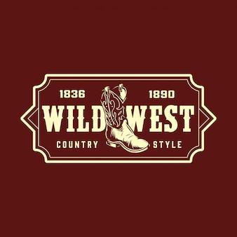 Vintage wild west monochrom-druck