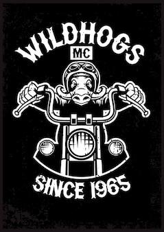 Vintage wildschwein motorrad maskottchen