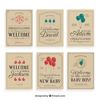 Vintage willkommen baby grußkarte sammlung
