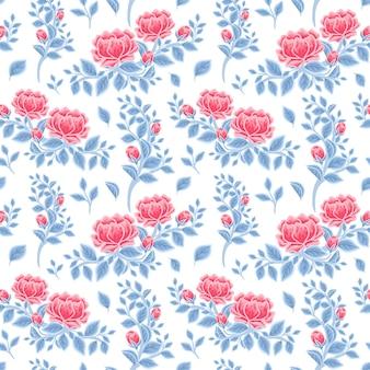 Vintage winter floral nahtlose muster aus roten pfingstrosenblüten und blauem blatt zweig arrangements