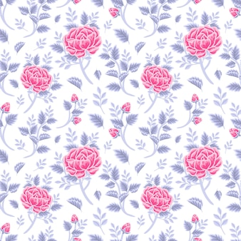Vintage winter floral nahtlose muster aus violettem rosa rosenstrauß, blütenknospen und blattzweigarrangements
