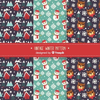 Vintage winter-muster-kollektion