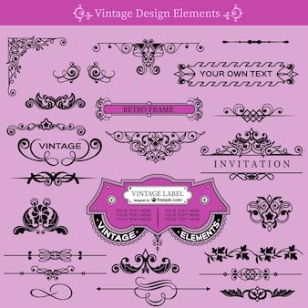 Vintage wirbelt dekorative sammlung