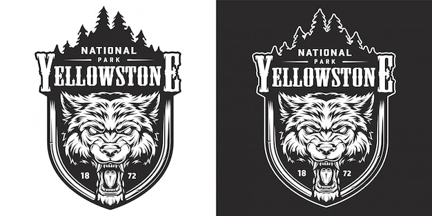 Vintage yellowstone nationalpark emblem