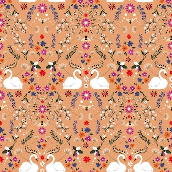 Vintage zarte kleine blume mit weißem schwan und hummel fantasy nahtloses muster-vektordesign, design für mode, stoff, textil, tapete, cover, web, verpackung und alle drucke auf retro-orange
