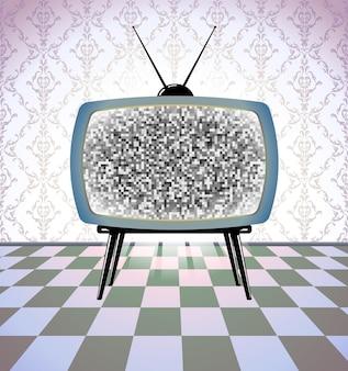 Vintage-zimmer mit tv