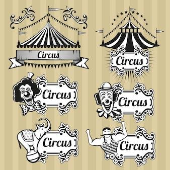 Vintage zirkus vektor embleme, logos, etiketten gesetzt. zirkusemblem, retro-zirkuslogo, karnevalszirkuszeltillustration