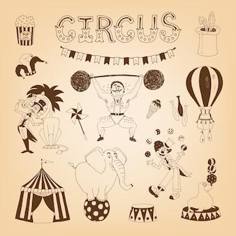 Vintage zirkuselemente für plakatgestaltung mit elefanten- und löwenbändiger