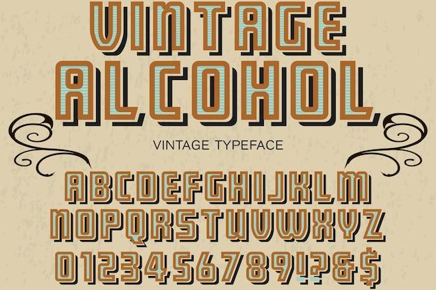 Vintager alphabet-schriftartalkohol