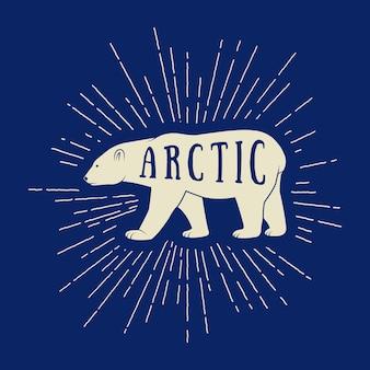 Vintager arktischer weißer bär mit slogan. vektor-illustration