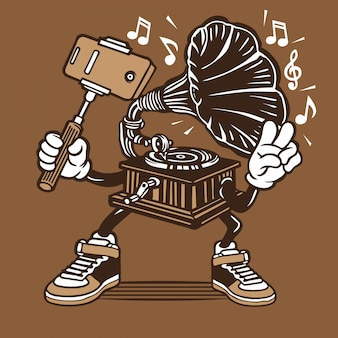 Vintager grammophon-musik-spieler selfie charakter-entwurf