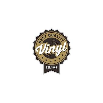 Vintager klassischer grammophon-musik-vinylaufzeichnungs-logoentwurf