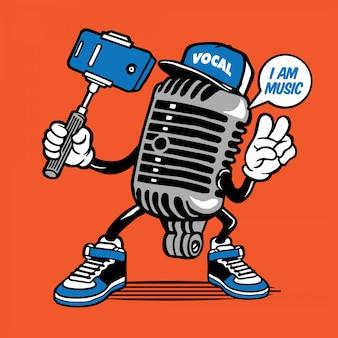 Vintager mikrofon-musik selfie charakter-entwurf