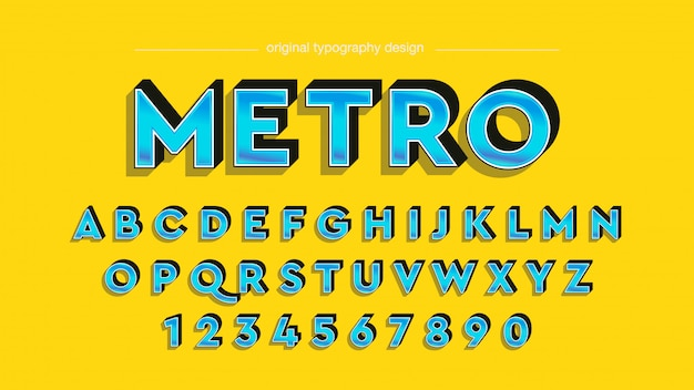 Vintager mutiger abgeschrägter blauer typografie-entwurf