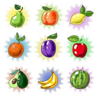 Vintager pop-art-fruchtflecken oder aufklebersatz