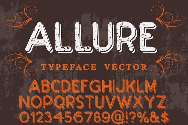 Vintager schriftart-schriftart-alphabetentwurf mit buchstaben und zahlen