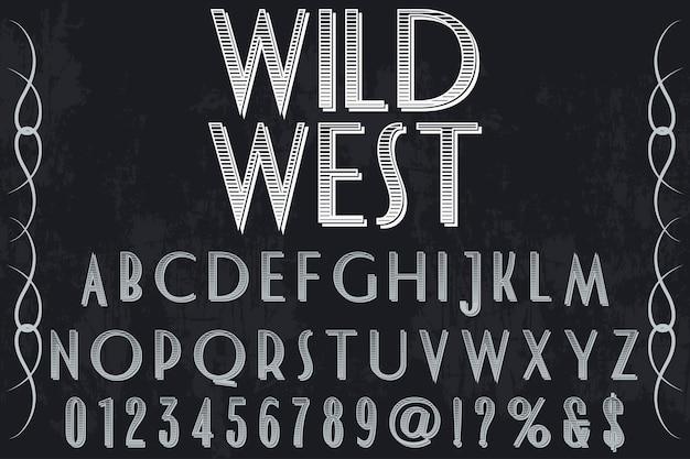Vintager schriftartaufkleberentwurf wilder westen