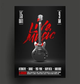 Vintages angeredetes retro live-rockmusik-party oder ereignis-plakat