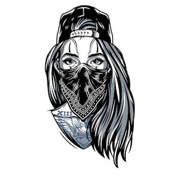 Vintages gangstermädchen in der baseballmütze
