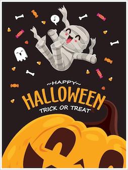 Vintages halloween-plakatdesign mit vektormumiengeistcharakter