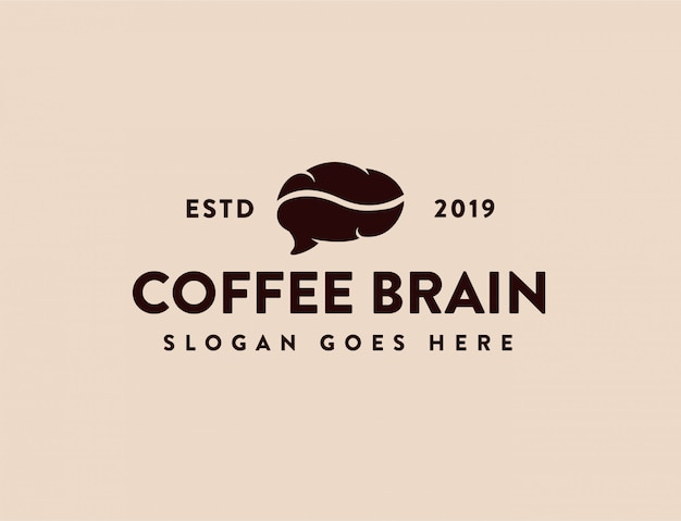 Vintages kaffee-und gehirn-logo