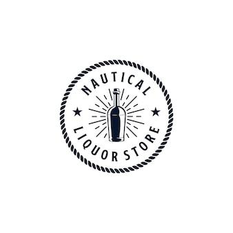 Vintages logo-design für den nautischen spirituosenladen