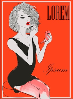 Vintages modemädchen mit parfüms. vektor-illustration