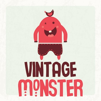 Vintages niedliches u. buntes monster