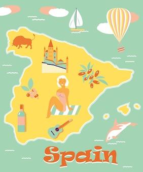 Vintages plakat von spanien mit attraktionen und sehenswürdigkeiten. kann für touristische prospekte, prospekte etc. verwendet werden.