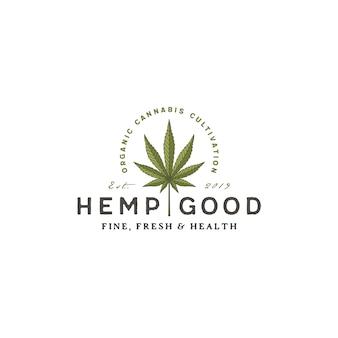 Vintages retro hanf-marihuana-hanf-cbd-logo