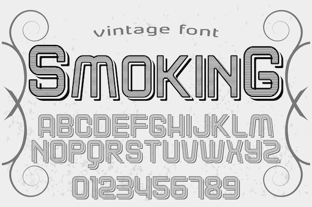Vintages schriftart-typografiealphabet mit dem zahlrauchen