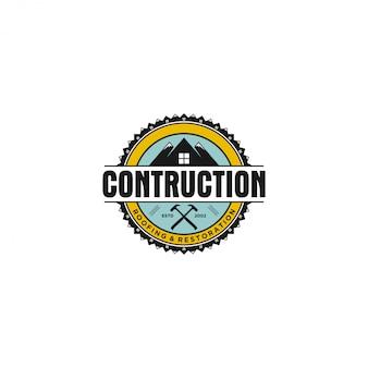 Vintages wirkliches zustand-haus contruction logo