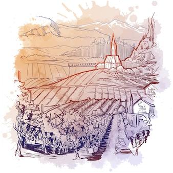 Vinyard in tiroler alpen, österreich. ländliches panorama des gebirgstals mit weinrebenplantage und dorf. lineare skizze auf einem strukturierten aquarell