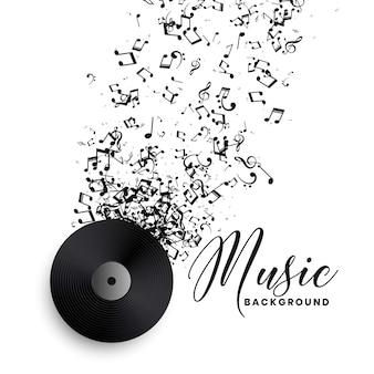 Vinyl des musikplattenlabels mit platzendem notenhintergrund