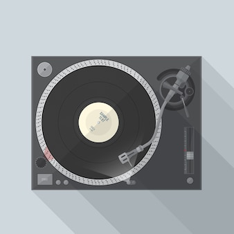 Vinyl-dj-drehscheibe des vektors flache design mit schatten