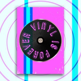 Vinyl ist für immer ein slogan-design für vintage-poster, flyer, broschürencover, retro-typografie oder andere druckprodukte. vektorillustration