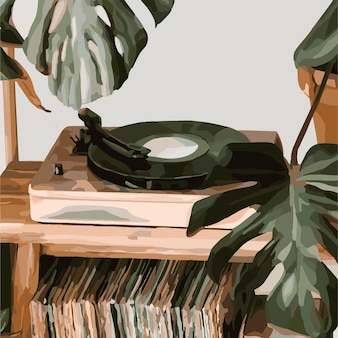 Vinyl-plattenspieler auf dem hintergrund der monstera. vektor-modeillustration