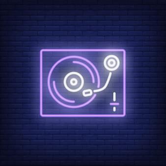Vinyl-plattenspieler leuchtreklame