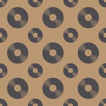 Vinyl-schallplatten-muster, musikhintergrund. illustration im retro- und luxusstil