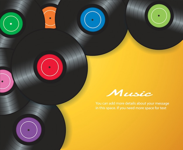 Vinylaufzeichnung mit gelbem hintergrundvektor