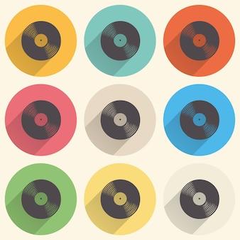 Vinylaufzeichnungen symbolabbildung, musikmuster. kreatives und luxuriöses cover