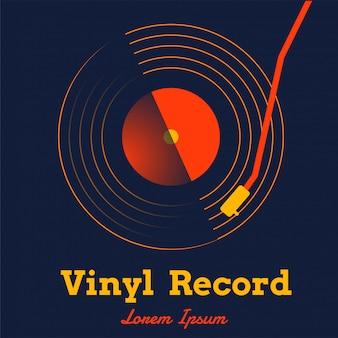 Vinylaufzeichnungsmusikvektor mit dunkler grafik