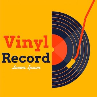 Vinylaufzeichnungsmusikvektor mit gelber grafik