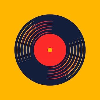 Vinylaufzeichnungsmusikvektor mit vinylaufzeichnungswort