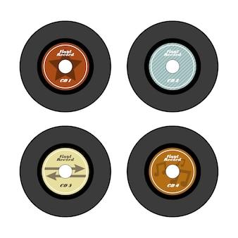 Vinylsatzikone über sahnehintergrundvektorillustration