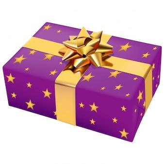 Violett eingewickeltes weihnachtsgeschenk mit sternchen-muster