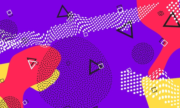 Violett-rotes flüssiges design. lila süßer flyer. splash-farben-poster. rote, gelbe flüssige elemente. funky süßes muster.