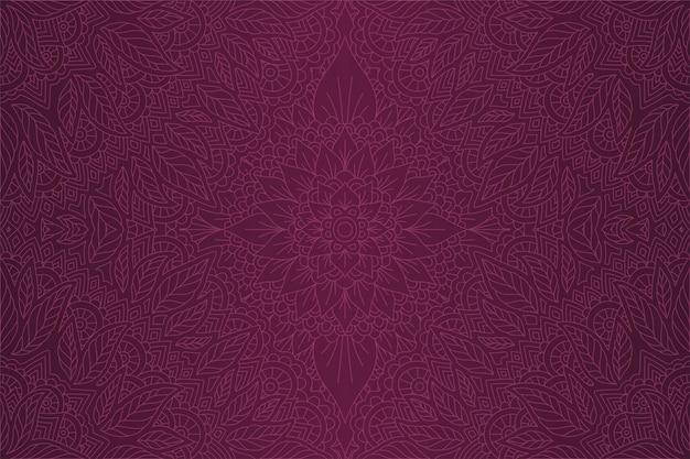 Violette kunst mit linearem dekorativem blumenmuster