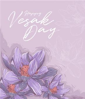 Violette lotusillustration handzeichnung malerei