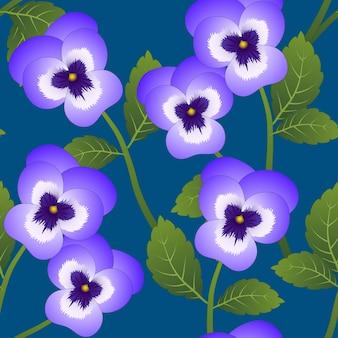 Violette viola garden pansy flower auf indigo blue hintergrund.